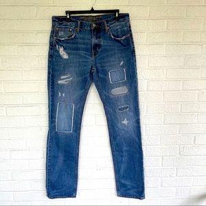 American Eagle Slim Straight Patchwork Jeans Sz 32